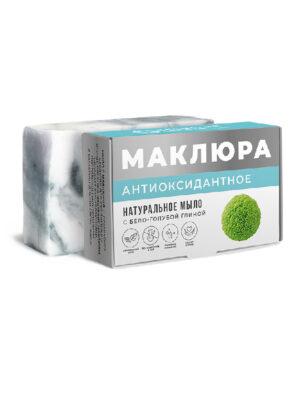 Мыло натуральное Маклюра Антиоксидантное с бело-голубой глиной, эфирным маслом лаванды и сандала